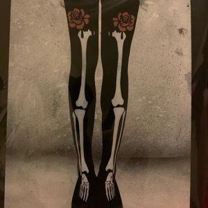 Bones and roses thigh high tights